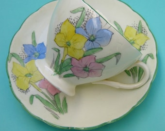 Vintage 30s Spring Crocus China Teacup - E Brain Foley Hand Painted Art Deco Colorful Easter Cup Pastel Pink Yellow Blue Narcissus Flower