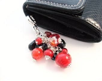 Red and Black Purse Charm, Red Purse Charm, Beaded Purse Charm, Keychain, Key Fob, Gift for Her, Black Purse Charm, Handbag Charm, Bag Charm