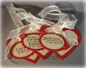 Set of 3 Large Heart Shaped one sided Tags or Cards ; Valentine or Love You Tags/cards