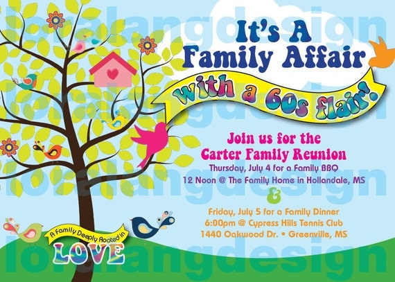 Items similar to DIY Printable 60s Themed Family Reunion or – Free Printable Family Reunion Invitations
