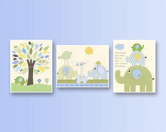 Baby boy, Nursery wall Decor, Children Art print, Eli baby elephant, set of 3 8x10, Eli elephants, kids room art, baby blue, green, yellow