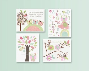 Baby Girl Room Ideas: Nursery wall Art Print For Girls, Baby Girl Room Decor / Love Bird Turtle Elephant // Set of 4 prints// Hayley Bedding