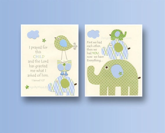 Baby boy, Nursery wall Decor, Children Art print, Eli baby elephant, set