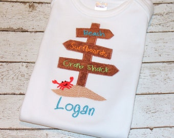 "Boy's ""Beach Sign"" Personalized Shirt, perfect for spring break and summer vacations"