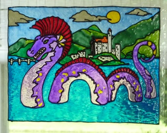 Dragon, castle and lake window cling, stained glass look