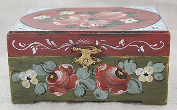 Hand painted wooden box - folk art keepsake box