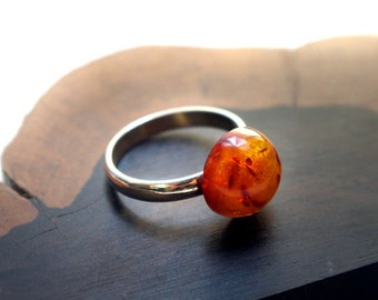 Unique Round Genuine Baltic Amber and Sterling Silver Ring
