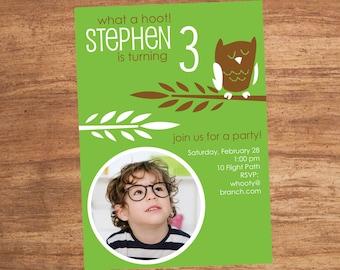 Owl Birthday Party Custom Photo Printable Invitation