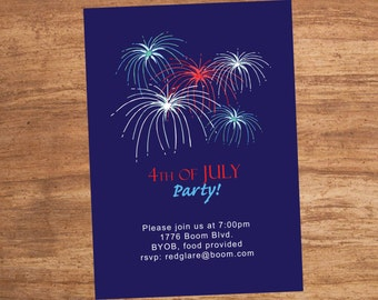 Fireworks 4th of July Custom Invitation