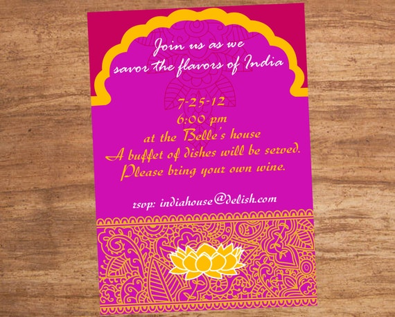 India Indian Food Party Invitation By SBVintageAndDesign On Etsy