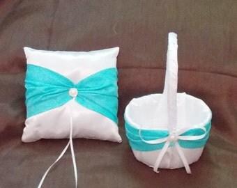 ivory or white custom made flower girl basket and pillow