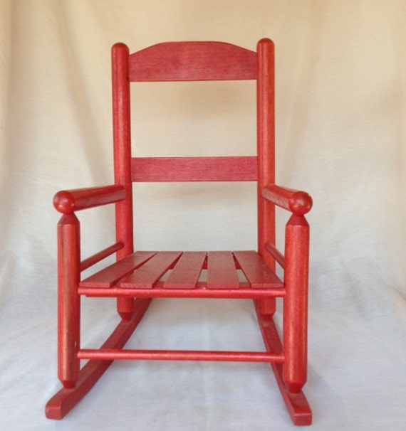 Child Red Rocking Chair ~ Rocking chair childs wood red by wasminenowyours on etsy