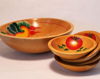 Rio Grande Hand Painted (with Vegetables) Wooden Ware set, 1 Large, 4 small