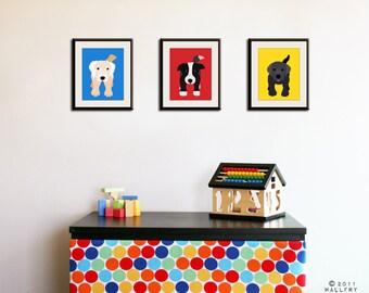 Dog prints childrens wall art. Art for children, kids wall art, prints for children. Dog nursery. Nursery art SET OF 3 prints by WallFry