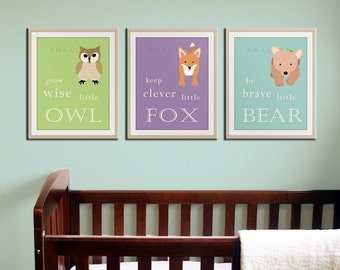 Baby nursery art prints. Inspiration typography prints. Woodland nursery decor. Owl Nursery wall art. SET of 3 PRINTS kids decor by WallFry
