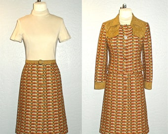 Vintage 60s dress MOD RUST two piece with jacket - S