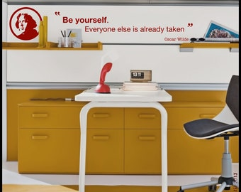 """Oscar WILDE Quote - WALL DECAL :   """"Be Yourself"""" quotation decal, vinyl, decor, smart words sticker, literature"""