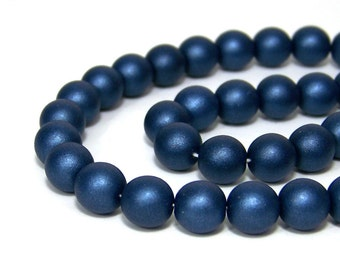 10mm Czech Glass Beads, round Dark blue satin, Full Bead Strand, 601G