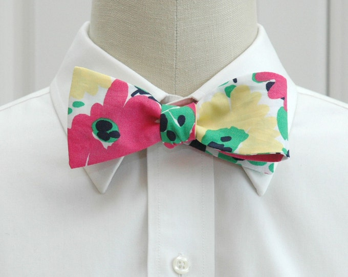 Men's Bow Tie, Lilly Resort Doodle pink, yellow, navy and green print, floral bow tie, wedding bow tie, groom bow tie, groomsmen gift,