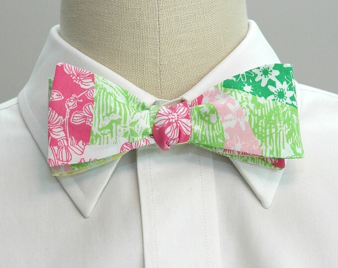 Men's Bow Tie, Wing Ding pink and green Lilly print, wedding bow tie, grooms bow tie, groomsmen gift, tux accessory, Carolina Cup bow tie