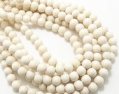 Whitewood, 8mm, Round, Small, Smooth, Natural Wood Beads, Full Strand, 50pcs - ID 1421