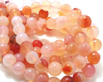 Agate, Peach, Rounds, Faceted, Gemstone Beads, 10mm, Full Strand, 38pcs - ID 1428