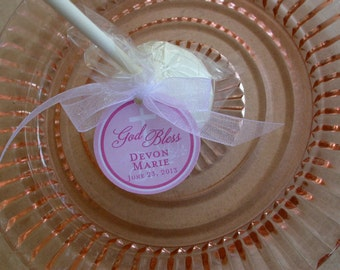 """Baptism, Christening, First Communion, Confirmation God Bless Favor Tags - For Cake Pops - Cookies - Catholic Party Favors - (24) 1.5"""" Tags"""