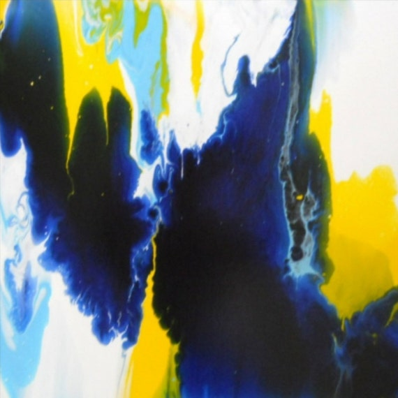 Original Abstract Painting Signed Modern Art - LIQUID ART Technique