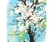 Grid series No.4 Spring blossoms  1 of  2, original painting with watercolor and sumi ink