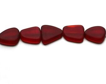 Red Glass Large Freeform Beads. Red Sea Glass Large Freeform Beads. 18 - 22mm Freeform Pancake Beads. Wholesale Sea Glass Beads // B05LF