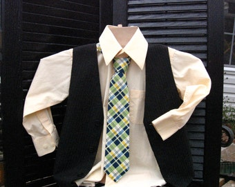 Boys navy, olive green, yellow and cream plaid necktie