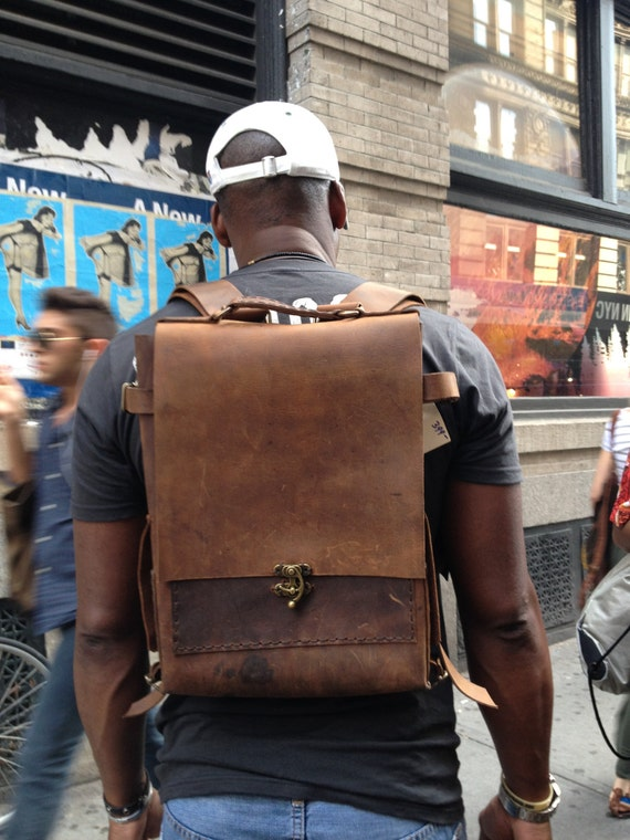 Mens leather backpack 17 laptop backpack Laptop rucksack