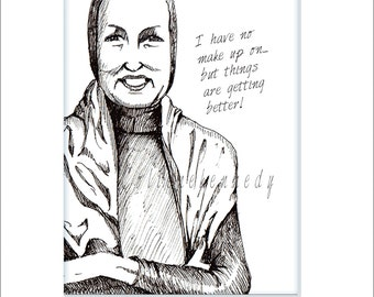 An affordable black and white 5 x 7 print of original art of Little Edie Beale