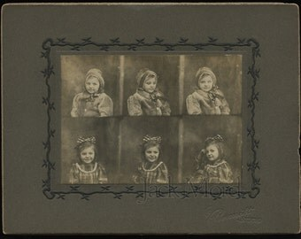 Antique c1900 Multiple Pose Cabinet Card Photo // Six Views of a Little Girl