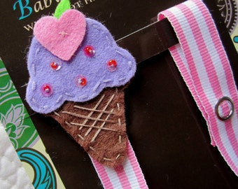 Girl Pacifier Clip, Ice Cream Cone Pacifier Clip, Purple Ice Cream Pacifier Holder, pccone02