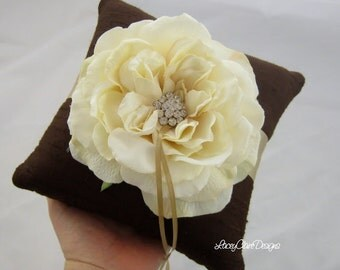 Wedding Ring Pillow - SALE - ready to ship -  Chocolate Silk and Gold Champagne accents