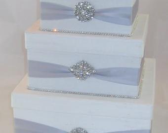 White Card Box for Wedding White Silver Card Box Wedding