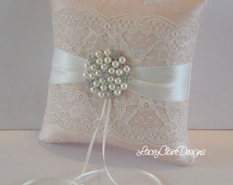 Bridal Lace Ring Bearer Pillow for wedding - made from dupioni silk Custom Made