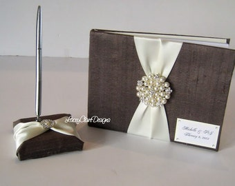 Wedding Guest Book and Pen Set - Custom Made to Order