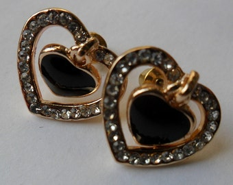 Fashion Jewelry Beautiful Heart Gold Plated  With White Crystal Rhinestone and Black heart Stud Earrings