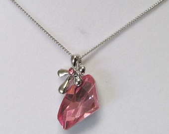 Fashion Jewelry- Lovely Beautiful Pink Crystal Faceted Glass With Flower Silver Rhodium Plated Necklace