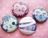 The Ghoul Gang  -  Creepy cute monster 1 inch pinback button set