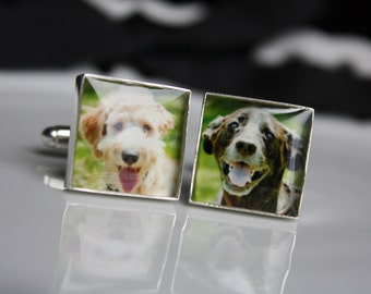 Custom Square Photo Cufflinks Great for Weddings, Grooms, Groomsmen, Father of the Bride, etc.