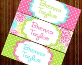 Personalized Waterproof Labels Waterproof Stickers Name Label Dishwasher Safe Daycare Label School Label - Floral Bloom, 30 piece set