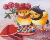 Valentine Print Baby Chicks Ferdinand and Nina 8x10 Fine Art by Janet Zeh