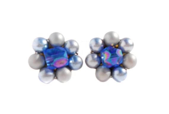 Light Metallic Blue Cluster Clip On Earrings with Faux Pearls and Faceted Acrylic Chunky Beads - Winter Space Sci Fi Vintage Jewelry
