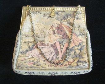 Vintage Petit Point Purse 1900s Purse Formal Purse Victorian Purse Antique Purse Tapestry Purse