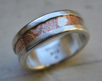 Unisex wedding band -  fine silver and Mokume-Gane Argentium Silver and copper wedding band - handmade artisan designed ring - customized