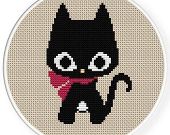 INSTANT DOWNLOAD,Free shipping,Cross stitch pattern, PDF,black cat,zxxc0376
