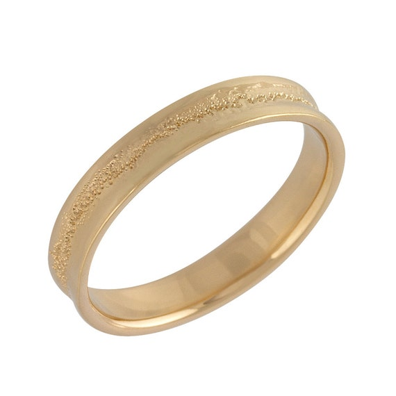 s concave hammered wedding band in gold